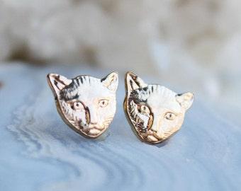 Cat Earrings, brass kitty post earrings, crazy cat lady jewelry, sterling silver