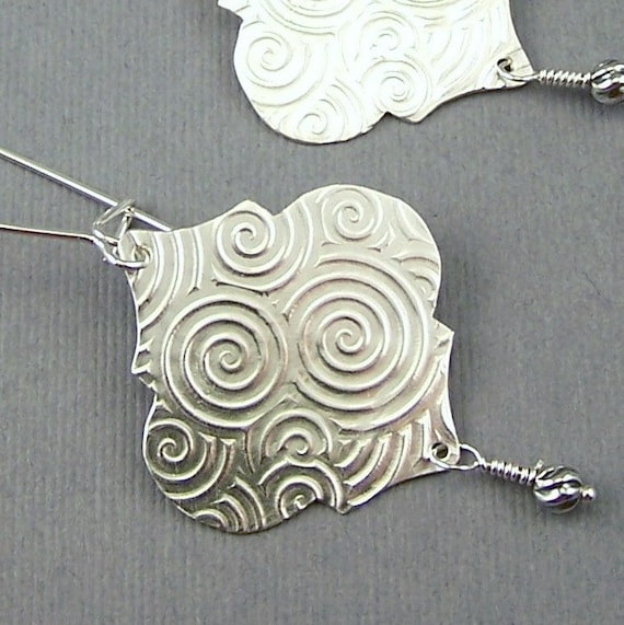 Moroccan Styled Sterling Silver Spirals Dangle Earrings
