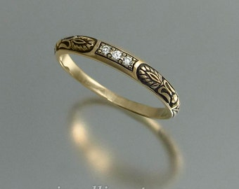 Wedding band ALEXANDRA 14k gold & diamonds