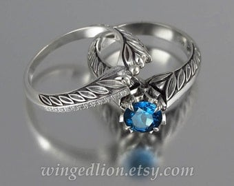 EDELWEISS 14k white gold engagement ring with London Blue Topaz & wedding band set with diamonds