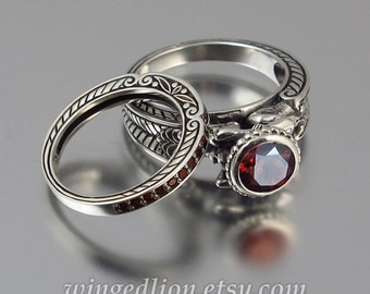 CARYATID silver ring & band set with red Garnet
