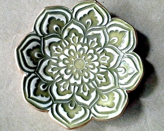 Sage Green Ceramic Lotus Ring Dish  3 1/4 inches round edged in gold