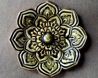 Ceramic Lotus Ring Holder Bowl Mediterranean Olive Green gold edged