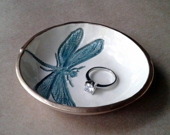 Ceramic Ring Bowl Trinket bowl Teal On OFF WHITE Dragonfly Gold edged