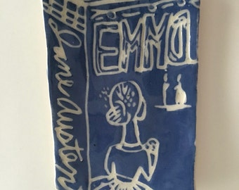 Ceramic Emma by Jane Austen ... Small Stoneware Book Plate/Dish ... one of a kind