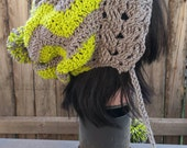 Lime Green and Gray Chevron Earflap Slouchy Hat