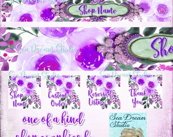 Purple Dream jewels and flowers  watercolor floral Etsy shop Banner and Avatar by Sea Dream Studio  OOAK
