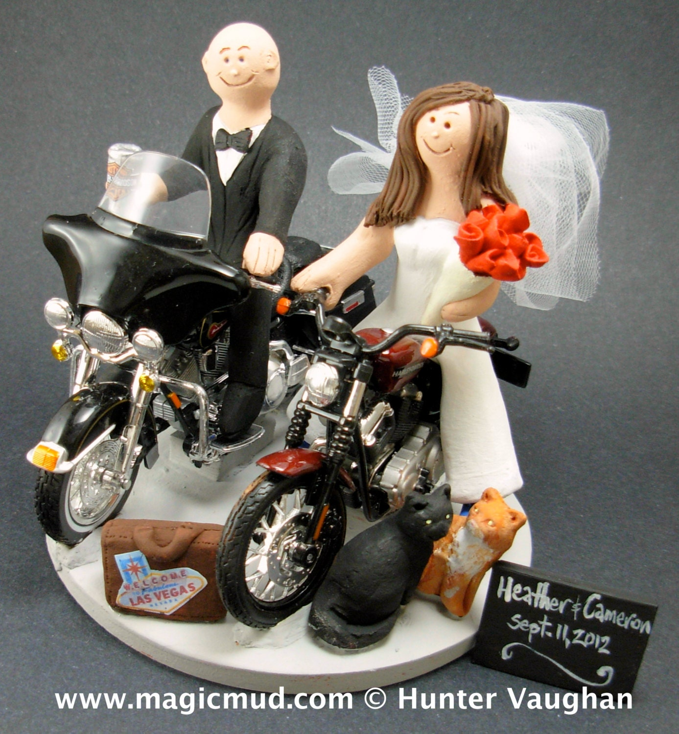 Bride And Groom Riding Harley Davidson Motorcycles Wedding Cake Topper Bikers Motorcycle