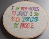 HALF PRICE SALE i inspire myself - hand drawn and embroidered Leslie Knope / Amy Poehler wall hanging