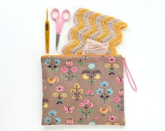Vintage Fabric Zipper Pouch / Project Bag | Brown with Golden Yellow Birds / Pink Flowers | 9.5x8 inches