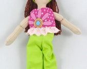 Dress Up Doll with Red Hair - Kids Toy - Handmade Doll