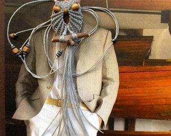 Silver Gray Macrame Owl Necklace, Jewelry, Pendant, Miniature Owl, Womens, Hoot, Long, Cute, Macrame Jewelry, Gifts Under 15, macraMe