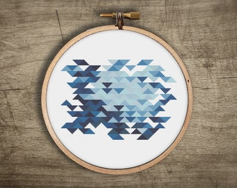 modern geometric cross stitch pattern ++ retro triangle mosaic ++ 2 variations ++ pdf INsTAnT DOwNLoAD ++ diy hipster ++ handmade design