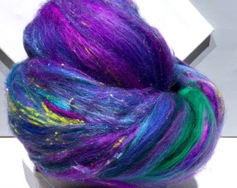 "fiber art batt, felting wool, spinning fiber, Roving, ""Delphinium"" purple blue lavender teal green turquoise aqua fuchsia, Phat Fiber"