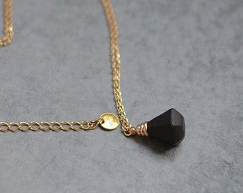 Black diamond necklace, Black necklace Black and gold jewelry Minimalist necklace Modern ceramic Gift for her Urban chic necklace-boohua
