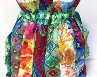 Handbag, Toiletries Bag, Utility Bag, Craft Bag, Gypsy, Hobo, Boho, Multi Purpose Quilted Kaffe Fasset Collective