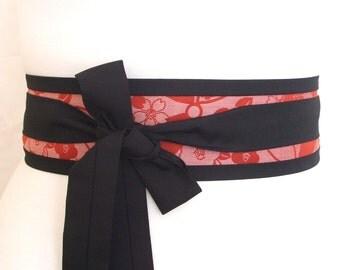 Cherry blossom obi belt  ...  Japanese fabric belt, Kimono sash,
