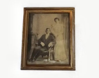 Charcoal Siblings Portrait, Antique Drawing in Gilt Gesso Wood Frame, Victorian Home Decor