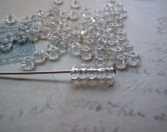 Crystal Clear Beads Faceted Rondelle Beads 2.5 X 4 mm TINY 20 Beads Accent Beads Spacer Beads