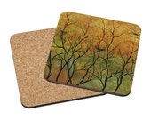 Coasters Mix & Match - Time to go - seasons nest birds calm trees landscape watercolor painting Oladesign