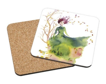 Coasters Mix & Match - Fallen Leaves - fashion sketch design autumn bird spirit lady woman nature watercolor painting Oladesign