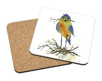 Coasters Mix & Match - Nesting - cute blue bird red breasted robin watercolor painting Oladesign