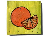 Oranges - Original Mixed Media Collage Painting - kitchen art, fruit, food art, orange, yellow green wall decor by Claudine Intner
