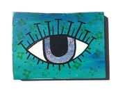 Evil Eye Wall Hanging - Original Mixed Media Collage Painting - blue eye, wall art decor, judaica by Claudine Intner
