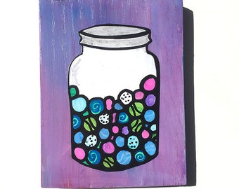My Lost Marbles Original Mixed Media Collage Painting - funny, glass mason jar of marbles, purple, blue, pink - Claudine Intner