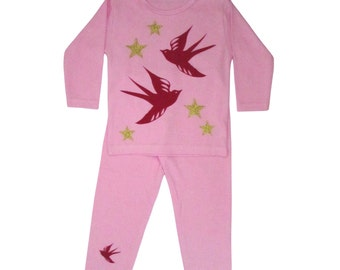 Red Birds Gold Stars Girls Pajama Set