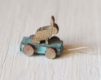 Dolls House Miniature Pull along Rabbit Toy in 1:12 scale