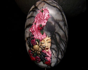 Gothic Spider Goddess with Roses handmade cameo BEAD OOAK Polymer Clay and Picasso Jasper Marble