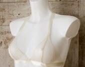 KASSANDRA — seductive lace triangle bralette with satin ribbon ties — cream / ivory — wedding / bridal / honeymoon / boudoir lingerie