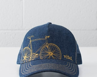 FIXIE Denim Trucker HAT - VITAL fixie bike - gold stitching
