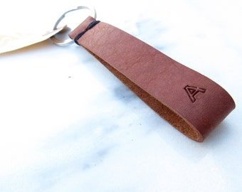 Clearance Sale: **READY TO SHIP** Initial Stitch Leather Keychain, 'A'.