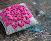 Linen  pincushion - crochet motif -- yellow