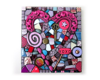 XOXO. (Small Handmade Mixed Media Mosaic Art Assemblage by Shawn DuBois)