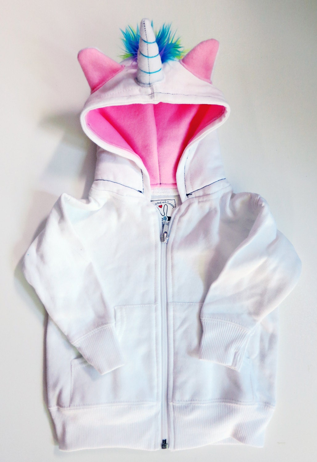 toddler unicorn hoodie size 4t white with pink horned