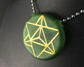 Green Sparkles Glass Pendant Flat Hollow Double Sided Reversible Seed Of Life Merkaba Fumed - Dan Rushin