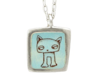 Shifty Cat Necklace - Reversible Sterling Cat and Dog Necklace