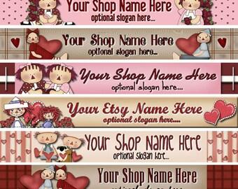 Raggedy Dreams Design - Premade ETSY Shop Banner - SHOP ICON - Primitive Valentine Raggedy Annie Andy Love Hearts