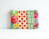 Patchwork Coin Purse Zipper Pouch Mini Wallet Makeup Bag Cosmetic Case Pink and Green