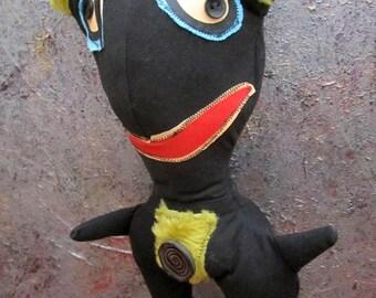 Primitive Black Cat Folk Art Doll