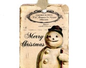 Vintage Snowman Gift Tags , Holiday Tags , Victorian Snowman , Merry Christmas , Shabby Tags , Rustic , Snow Person , Antique Snowman