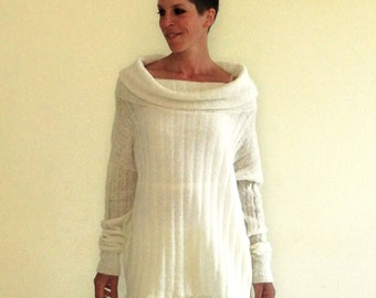 long sleeved sweater, oversize white top, white ribbed top