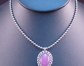 Wrapped Pink Faux Gemstone Chain Maille Pendant - Chain Included - Small