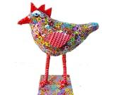 Modern Bird decor,bird decor, bird decoration,bird art, bird sculpture,metal bird decor ,multi color, polymer clay bird