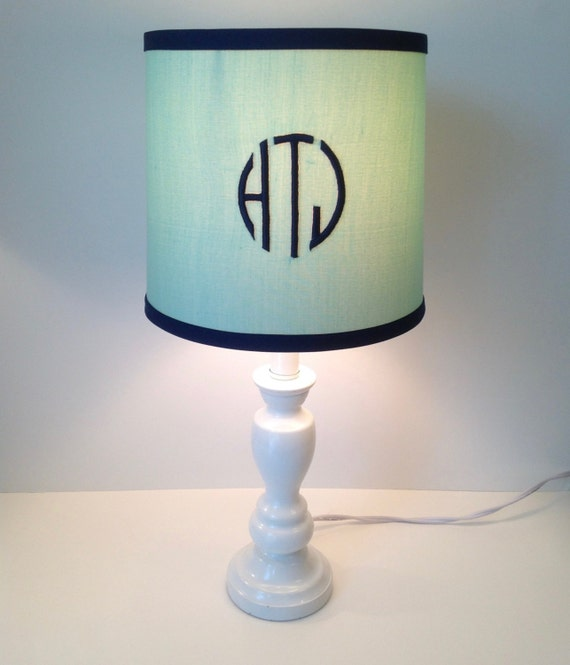 mint green monogrammed drum lamp shade other by lightningbugs. Black Bedroom Furniture Sets. Home Design Ideas