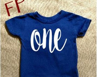 SALE Royal Blue First Birthday Baby Shirt One Birthday Shirt One Girls Boys Birthday Shirt