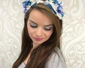 Blue and Silver Headband, Flower Crown, Fairy Headpiece, Costume Headpiece, Woodland Headband, Mermaid, Elven, Ice Queen, Halloween